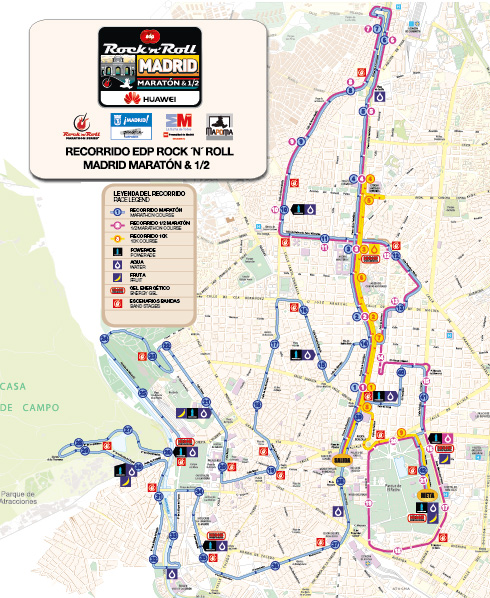 Plano recorrido Rock and Roll Maratón Madrid 2015